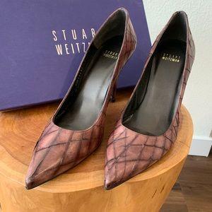 Stuart Weitzman Cocoa Slashed Leather Heels
